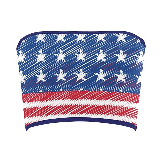 4a9f1fd7a7 Women s Vintage Distressed American Flag Stars Stripes Tube Bra Bandeau Top  XS