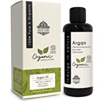 Argan Oil (Certified Organic, Extra-Virgin, Morocco) - Aroma Tierra - Treats dull & frizzy hair, Rejuvenates face, Moisturizes skin, Anti-ageing - 100ml