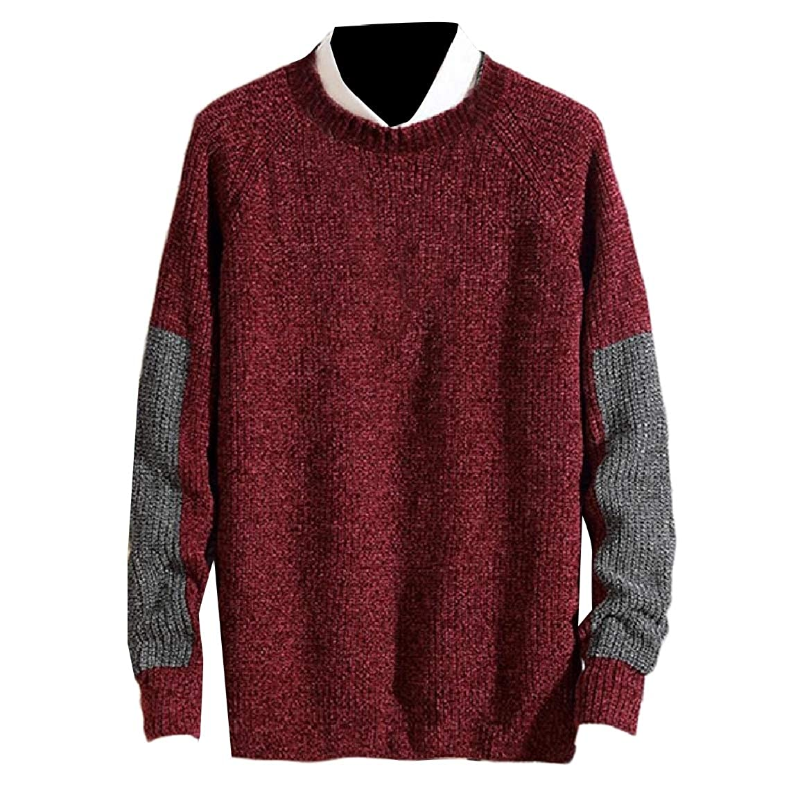 YUNY Men Comfort Knitted Relaxed Fit Autumn Contrast Pullover Sweater Wine Red 2XL