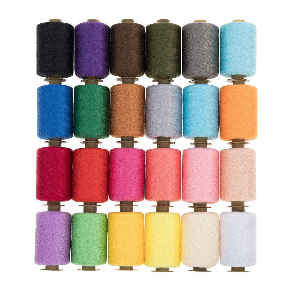 KEIMIX Polyester Sewing Threads 24 Colors 1000 Yards Each Spools Sewing kit for Hand & Machine Sewing by KEIMIX