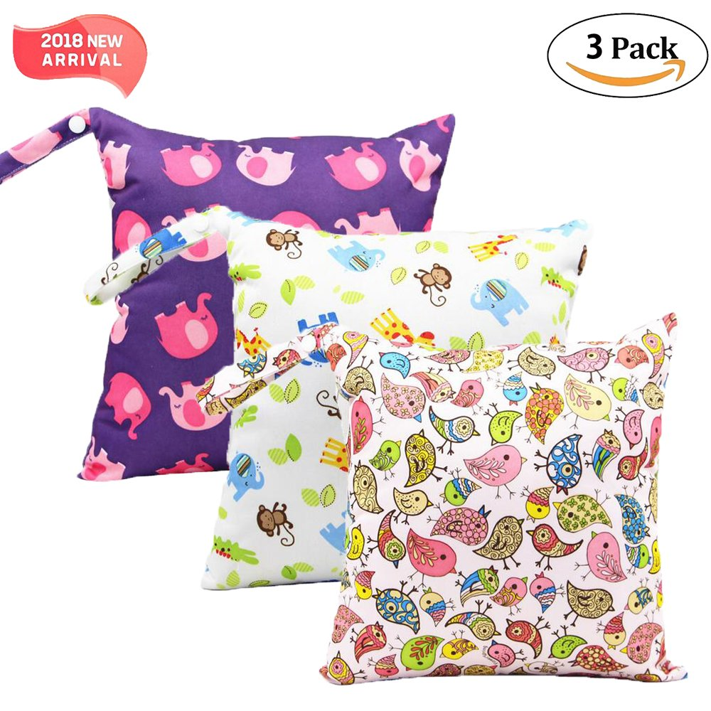 3 Pack Baby Wet and Dry Cloth Diaper Bags Waterproof Reusable with Zippered Pockets,11x 11.8,Animals Animal1 3 Pack 11x 11.8 Lolyze