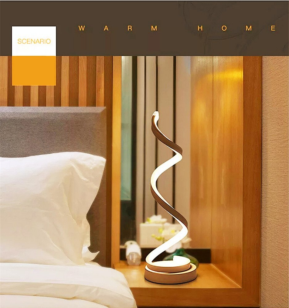 LED lampe de table, incurvée lampe de bureau LED, design minimaliste moderne, 12W lumière blanc chaud, creative acrylique LED lampe de modélisation parfaite pour chambre à coucher salon (blanc) [Classe énergétique A]