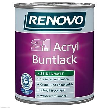 5 Liter Renovo Acryl Buntlack Seidenmatt Weiss Amazon De Kuche