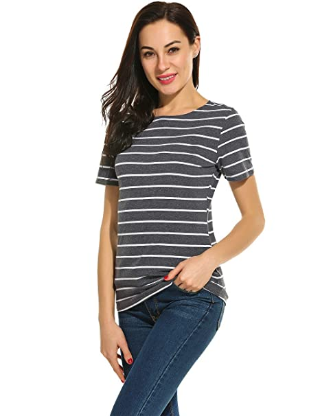 Amazon Com Women S Summer Short Sleeve Striped T Shirt Tee Tops