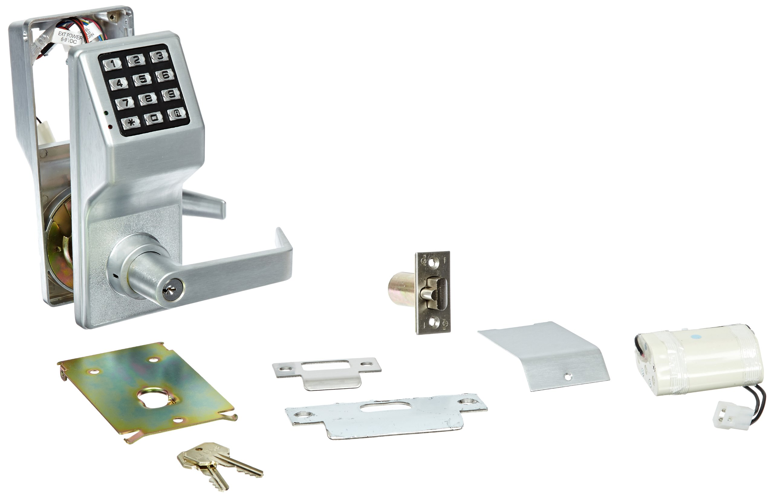 Alarm Lock Trilogy T2 100-User Weatherproof Electronic Digital Keypad Cylindrical Lock Leverset, Satin Chrome Finish