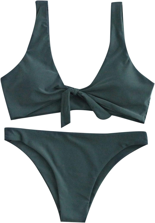 SweatyRocks Women's Sexy Bikini Swimsuit Tie Knot Front Swimwear Set