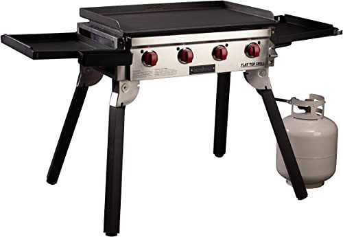 Camp Chef Portable 4-Burner 600 Flat Top Grill w 604 sq in Pre-Seasoned Cold Rolled Steel Griddle