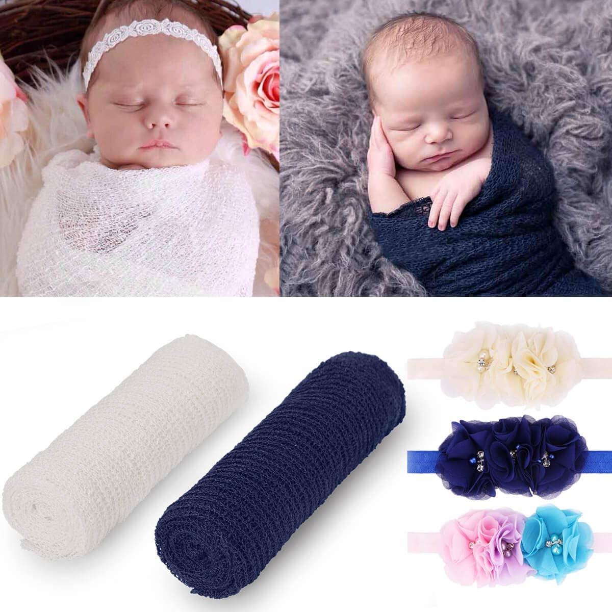 Newborn Baby Boys Girls Photography Props Long Ripple Wrap,Photo Shoot Seersucker Blanket