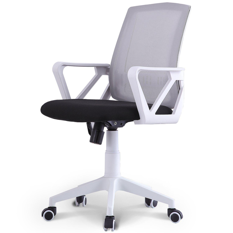 Neo Chair Managerial Office Chair Conference Room Chair Desk Task Computer Mesh Home Chair w/Armrest : Ergonomic Lumbar Support Swivel Adjustable Tilt Mid Back Wheel, (Tourbillon Castle Gray White)