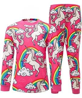 d9096c2896 AmzBarley Girls Unicorn Pyjamas Rainbow PJS Pajama Set Sleepwear Kids  Childs Cotton…