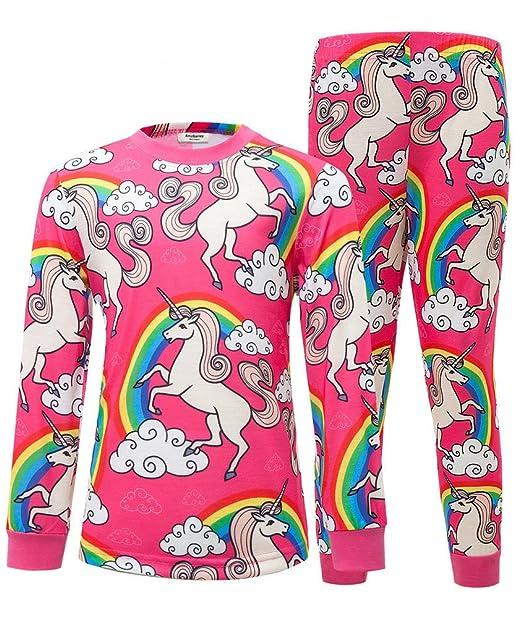 AmzBarley as Unicornio pijamas arco iris Unicornio PJS pijama Set ropa de dormir para ni?