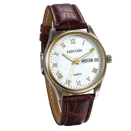 JewelryWe Reloj de Hombre Caballero Reloj de Pulsera Cuero Marrón, Reloj Con Calendario Numeros Romanos, Reloj Blanco Marrón Estilo Casual: Amazon.es: ...