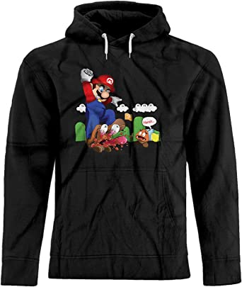 BSW Mens Super Mario Goomba Squish Harsh Premium Hoodie XS Black