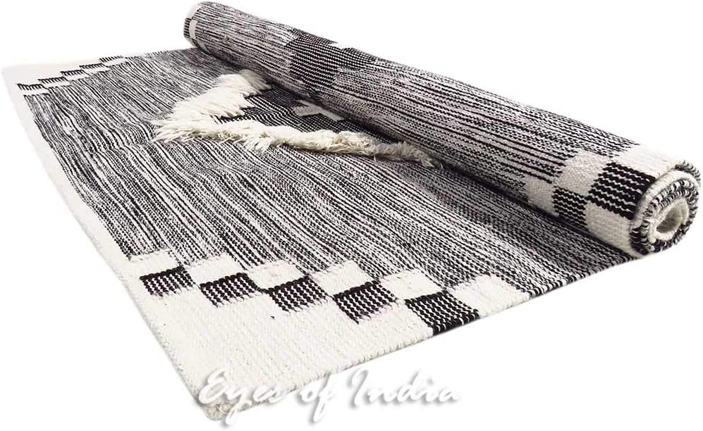 3 X 5 ft White Black Cotton Block Print Area Accent Dhurrie Rug Flat Weave Woven Boho Chic Indian Bohemian Eyes of India