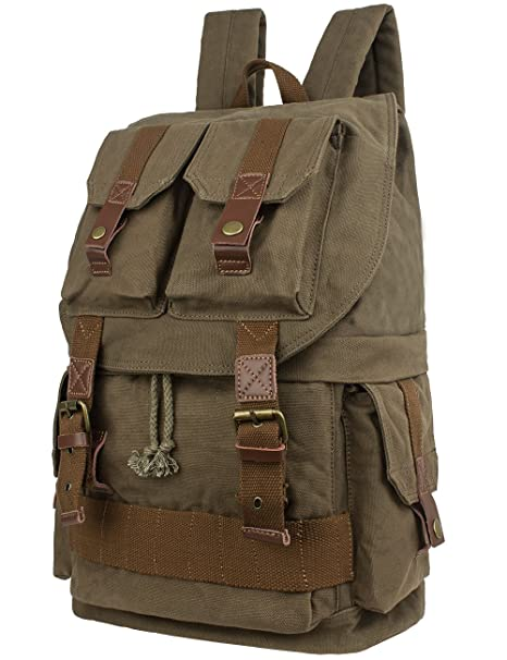 Amazon.com   Leaper Large Canvas DSLR SLR Camera Backpack Rucksack Bag for  Sony Canon Nikon Olympus (Army Green)   Electronics
