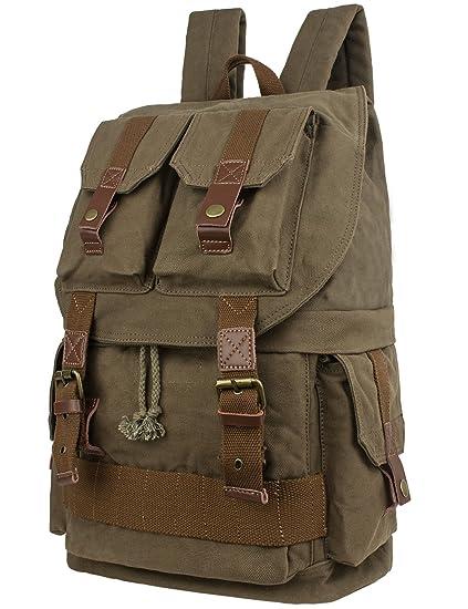 Amazon.com   Leaper Large Canvas DSLR SLR Camera Backpack Rucksack Bag for  Sony Canon Nikon Olympus (Army Green)   Electronics 6bf3f39831e7b