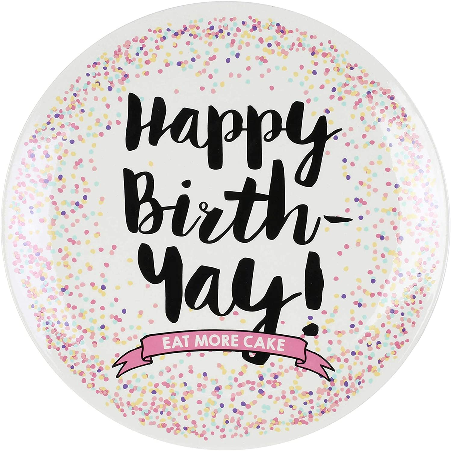"""Enesco Our Name is Mud Happy Birthday Autograph Cake Plate, 11.5"""", Multicolor"""