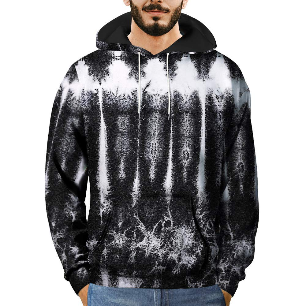 Clearance Mens T Shirts WEUIE Mens 3D Printed Striped Pullover Long Sleeve Hooded Sweatshirt Tops Blouse (2XL, Black )
