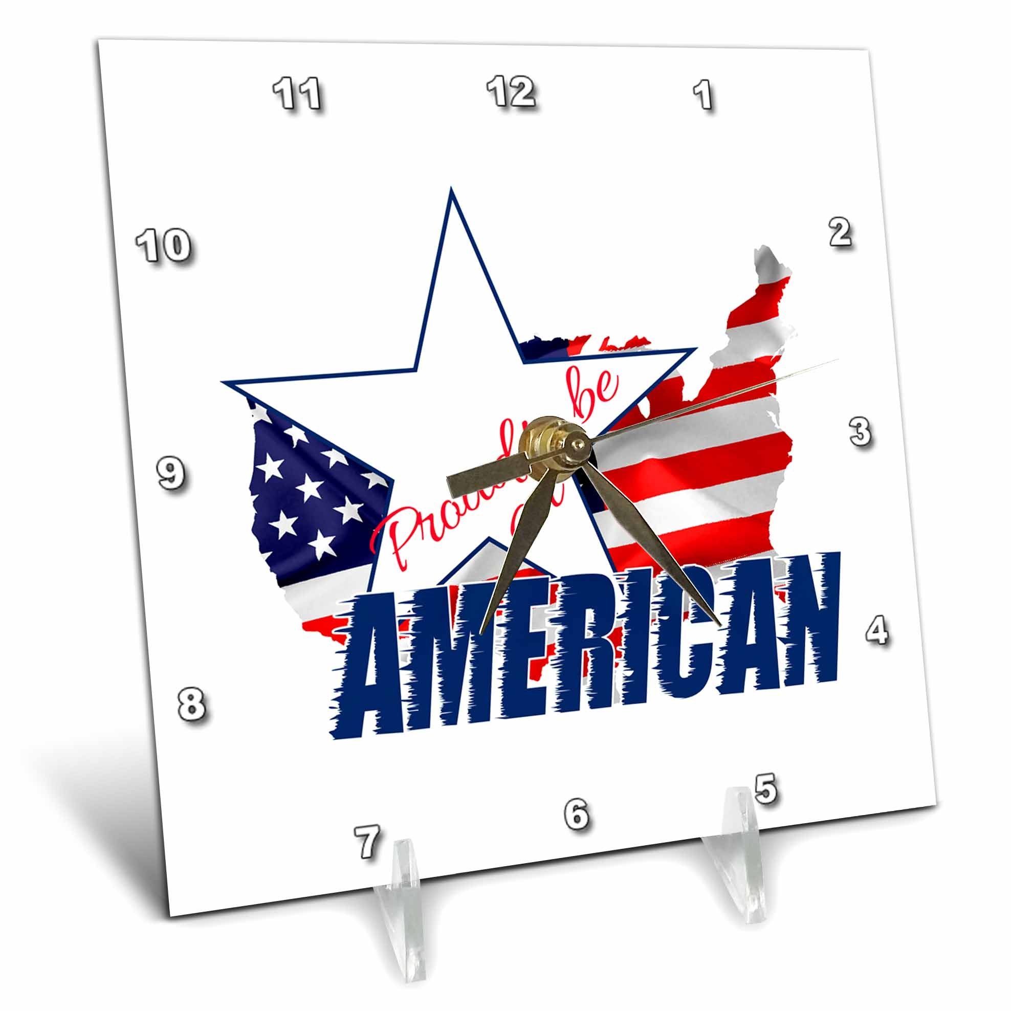 3dRose Alexis Design - America - America Map and Flag, text Proud to be an American on white - 6x6 Desk Clock (dc_270547_1)