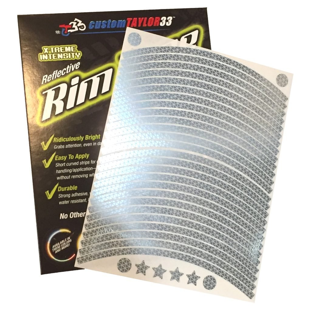 Must Select Your Rim Size All Vehicles White//Silver//Chrome High Intensity Grade Reflective Copyrighted Safety Rim Tapes Rim Size customTAYLOR33 12