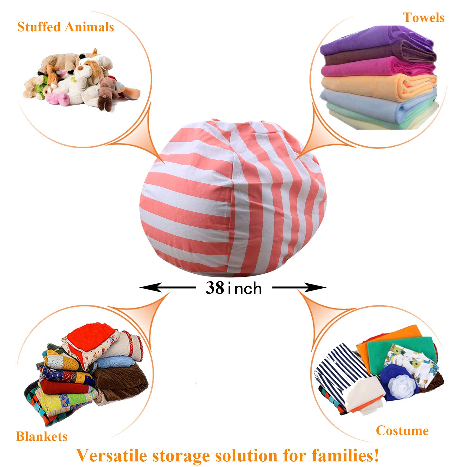 100/% Cotton Canvas Kids Toy Storage Zipper Bags Organizer Comfy Pouf for Boys Girls Toddlar Injoy 38 Stuffed Animals Bean Bag Extra Large Chair Cover Grey with Outer Space
