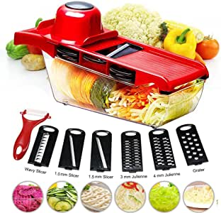 BYETOO Mandoline Slicer Vegetable Cutter Grater Chopper Julienne Slicer-6 Interchangeable Blades with Peeler,Hand Protector,Food Storage Container - Cutter for Potato,Tomato,Onion,Cheese,Cucumber etc