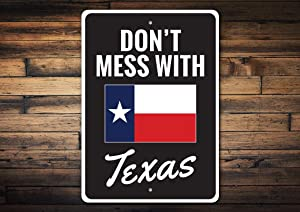 """yyone Dont Mess with Texas, Texas Home Vintage Look Reproduction Metal Tin Sign 8"""" X 12"""""""