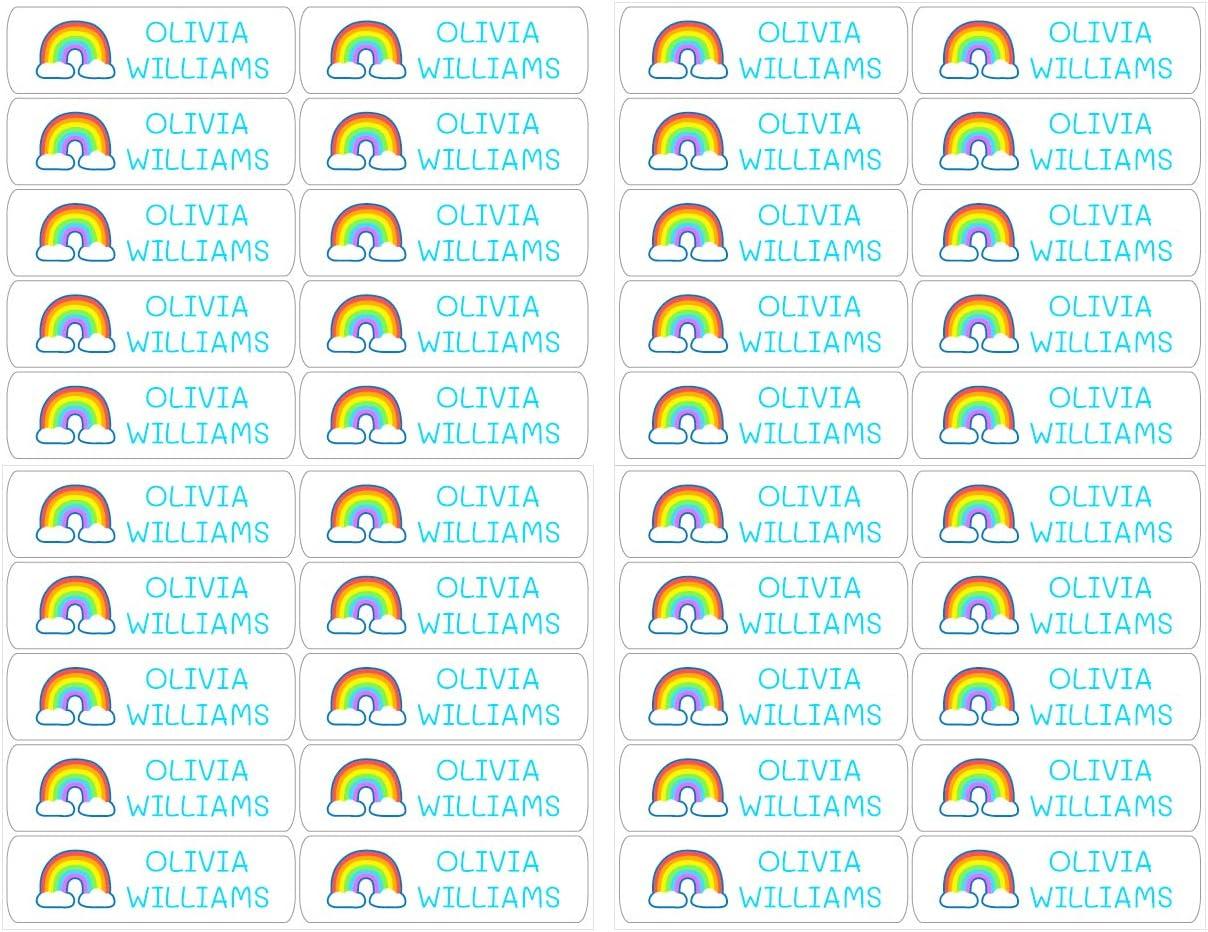 zur Kennzeichnung von Objekten 50 personalisierte Klebeetiketten B/üchern Color Schwarz etc 6 x 2 cm Lunchboxen