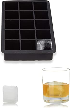 Black Relaxdays Silicone Ice Cube Tray for 2.5 cm Ice Cubes Ice Cube Mould HxWxD: 3 x 15 x 9.5 cm For Cocktails BPA-free