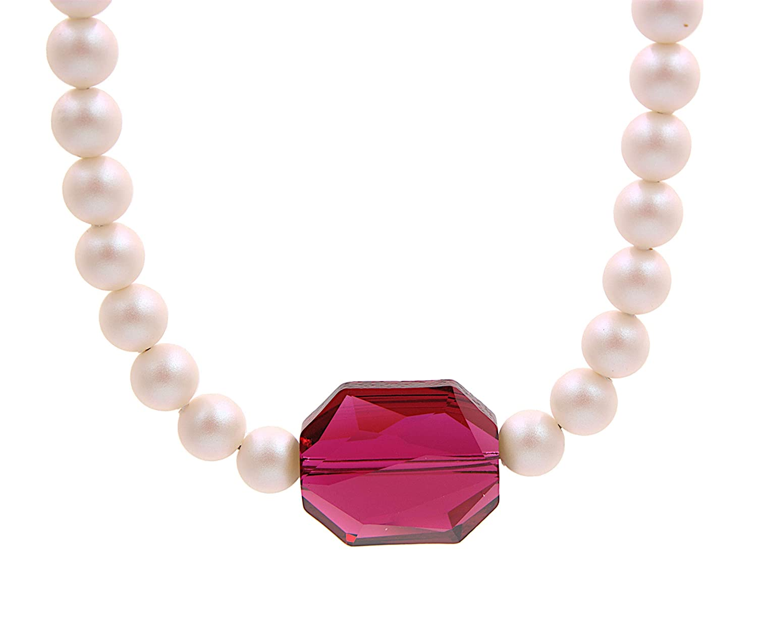 Pink and White Pearlescent Necklace