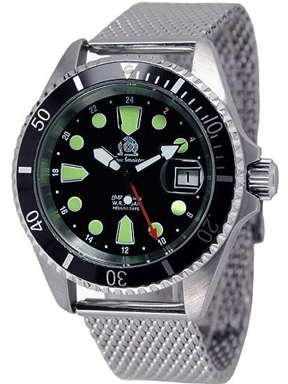 Reloj subacuática efectivo medio alemán Pulsera con punto milanese Tauchmeister acero