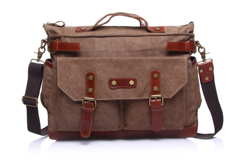 Color : Beige, Size : M MUMUWU Mens Messenger Bag Canvas Leisure Travel Computer Bag Shoulder Portable Multifunction Bag Briefcase Shoulder Bag