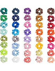 40 Colors Satin Hair Scrunchies, Elastic Hair Scrunchie for Ponytail Holder,Colorful Hair Ties Ropes Scrunchie