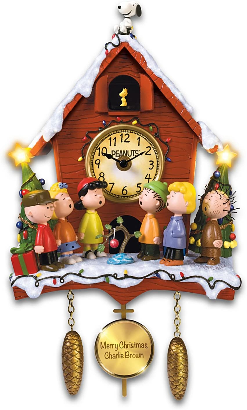 Amazon Com The Bradford Exchange A Charlie Brown Christmas Sculptural Cuckoo Clock With Lights Music And Motion Home Kitchen