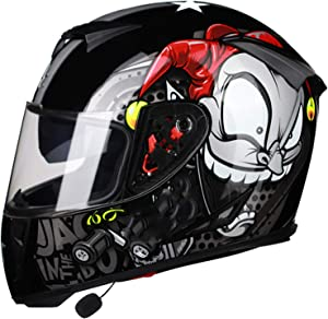 Motorbike Bluetooth Helmet Modular Motorcycle Helmet Speaker Headset Noise-Free,Automatic Answering Full-Face Flip-Type Dual-Lens Smart Bluetooth Motorcycle Helmet DOT Approved J,L(59~60CM)