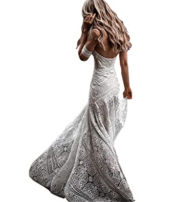 0ecb97ad10 Women s Bohemian Wedding Dresses Sweetheart Mermaid Lace Bridal Gown (Ivory  ...