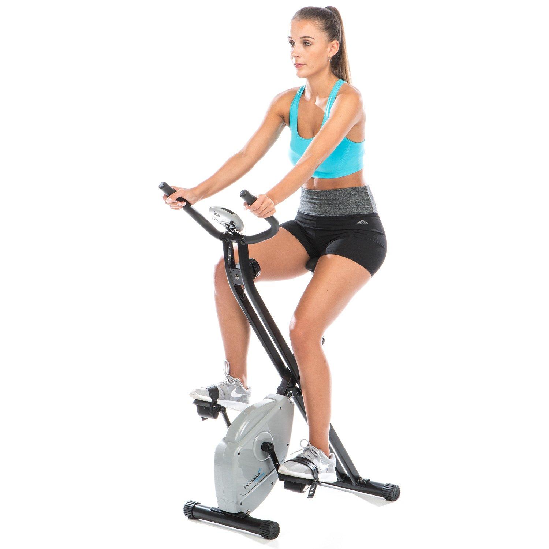 Skandika Foldaway X de 1000 Lite Fitness Bicicleta Estática X de Bike F de Bike plegable con sensores de pulso de mano, pantalla LCD de 8 Niveles de ...