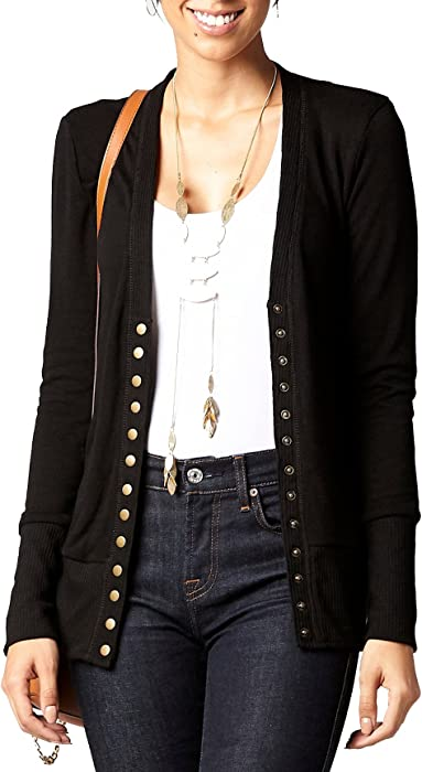 b8d43652c9 Women s Cardigan V-Neck Snap Button Down Soft Knit Long Sleeve Sweater. Cardigan  Sweater (Small