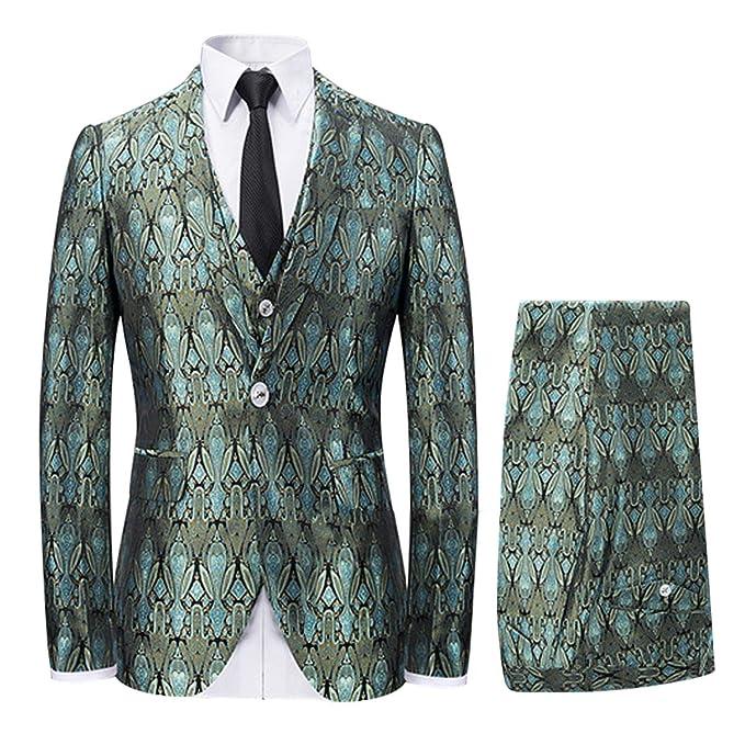 Amazon.com: Traje de 3 piezas para hombre, diseño floral ...