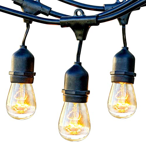 Brightech Ambience Pro – Waterproof Outdoor String Lights – Hanging Industrial 11W Edison Bulbs – 48 Ft Vintage Bistro Lights – Create Great Ambience in Your Backyard, Gazebo