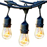Brightech Ambience Pro - Waterproof Outdoor String Lights - Hanging Industrial 11W Edison Bulbs - 48 Ft Vintage Bistro…