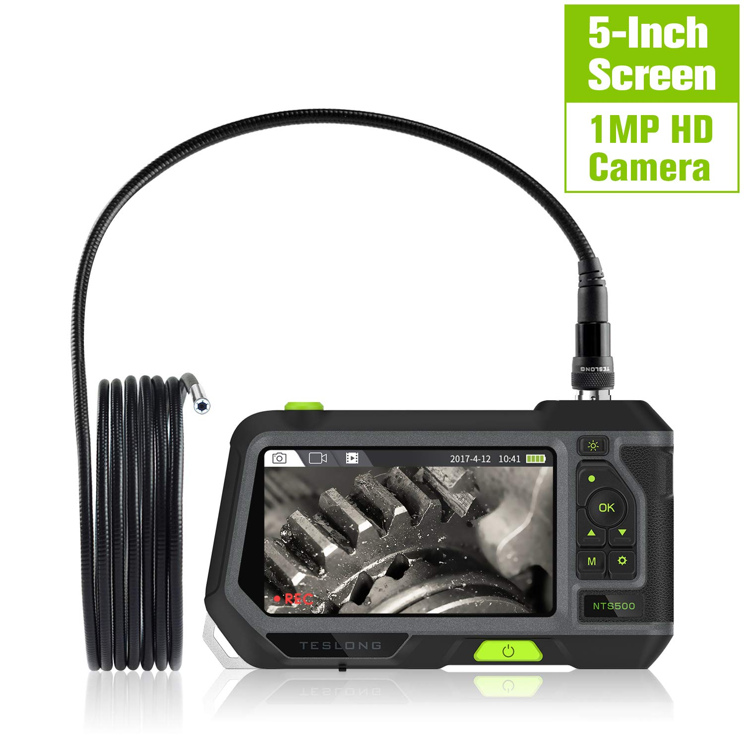 Industrial Endoscope with 5inch Screen, Teslong Ultra Large Monitor Full HD Borescope with 1.0 Megapixels HD Micro Inspection Camera, 9.84ft Waterproof Flexible Gooseneck, 3500mAh Battery and Toolbox