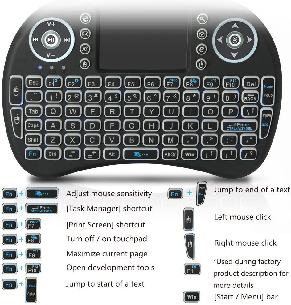 Color: Russian no Backlit no Backlight - Calvas i8 keyboard 2.4GHz Wireless mini Keyboard with Touchpad Fly Air Mouse Remote Control For Android TV BOX PS3 PC
