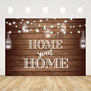 Housewarming Backdrop Shining Lights Background for New House Party Decorations Rustic Housewarming Photography Home Sweet Home Banner Wood Background Photo Booth Wedding Cake Table Supplies 7x5ft
