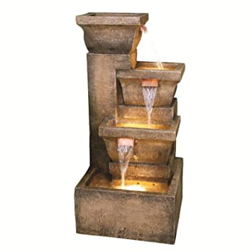 33u0026quot; Lighted Rustic Weathered Outdoor Garden Water Fountain