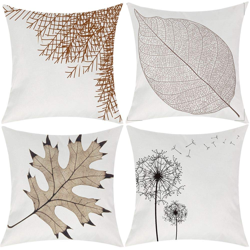 Buy Wilproo Autumn Leaf Throw Pillowcase Covers Decorative Cotton Linen Burlap Square Outdoor Cushion Cover Pillow Case For Car Sofa Bed Couch 18 X 18 Inch Pack Of 4 Online At Low