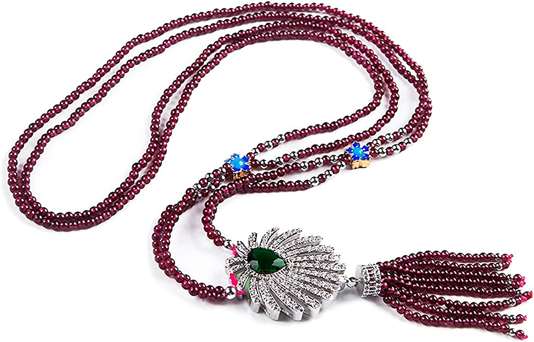 DUOVEKT Garnet Pendant,Natural Raw Red Garnet Crystal for Woman Man Silver 21x15mm Beads Water Drop Gemstone Clear Jewelry AAAAA
