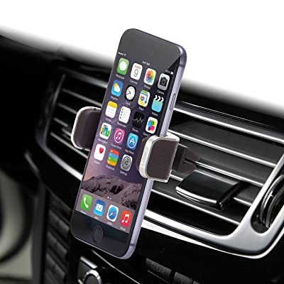 Dash Crab Mono, Genuine Leather Cell Phone Car Mount, Luxury Premium Air Vent Car Mount Holder Cradle for iPhone 7 Plus 6 6s Plus Samsung Galaxy S7 S6 Edge Note 5, Universal Grip, Retail Pack (Brown)