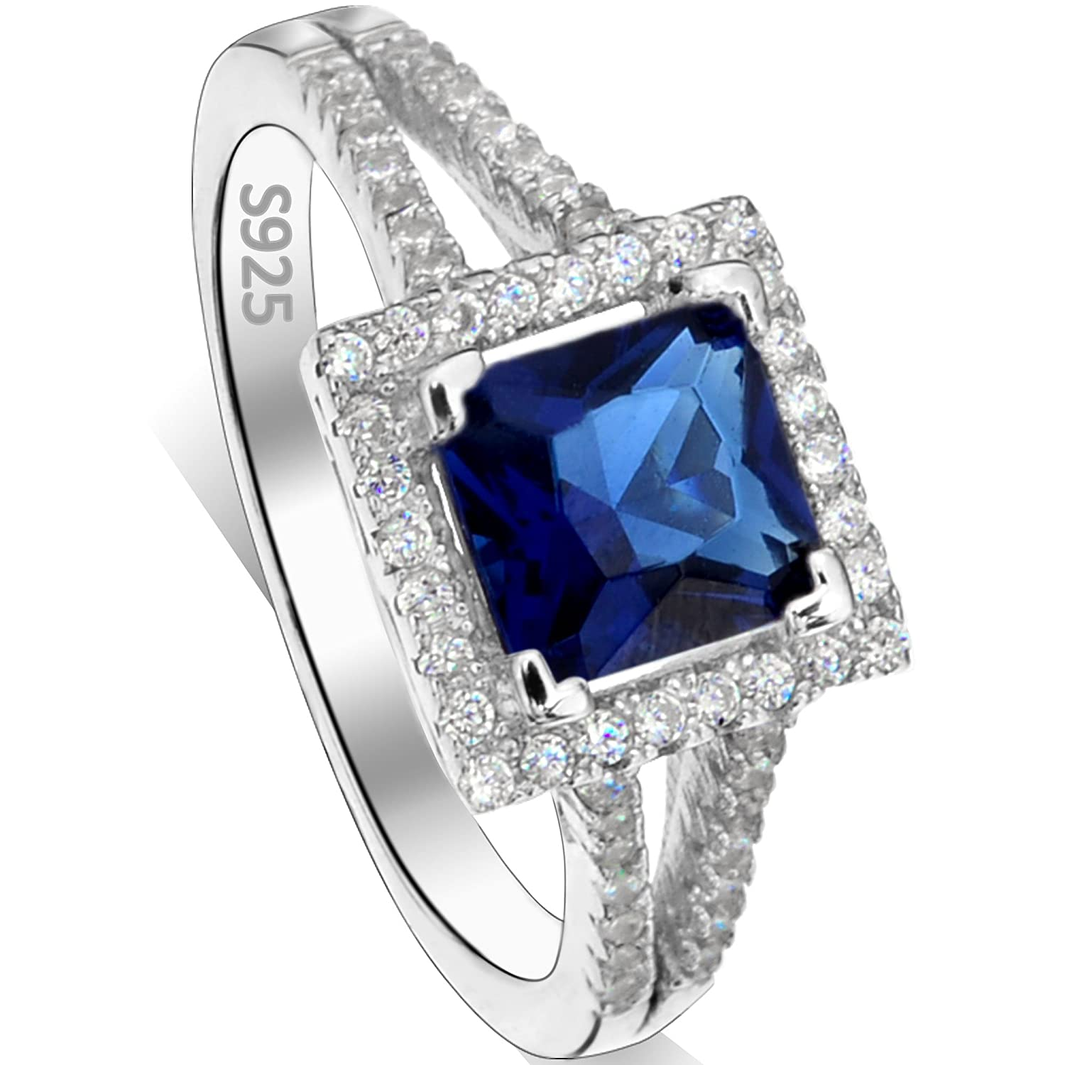 EVER FAITH 925 Sterling Silver Princess Cut Sapphire Color .25ct CZ Daily Ring Blue