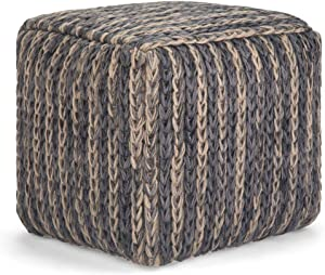 SIMPLIHOME Mullins Square Pouf, Footstool, Upholstered in Blue Cotton with Natural Woven Jute, for the Living Room, Bedroom and Kids Room, Contemporary, Modern
